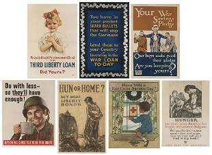 Seven WWI and WWII Propaganda Posters. American, 1940s.