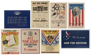 Eight WWII Propaganda Posters. Most American. Including