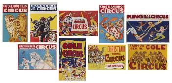 Lot of 9 Circus Posters. American, ca. 1950s/60s.