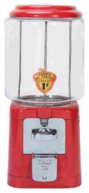 Acorn 1 Cent Gumball Machine. Cast iron red base.