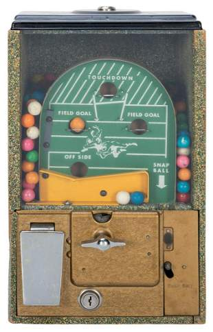 Victor Vending Corp. 1 Cent Football Gumball Machine.