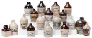 Group of 18 Miniature Advertising Stone Jugs. Companies