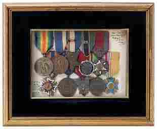 Collection of Framed World War I-Era Medals. Including: