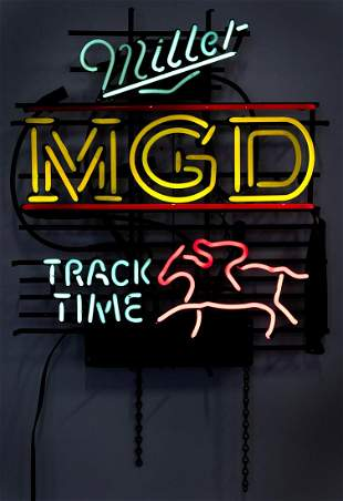 Miller MGD Track Time Neon Sign. Allanson