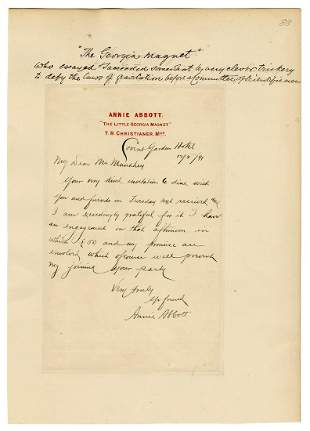 Abbott, Annie (Dixie Haygood). Autograph Letter of
