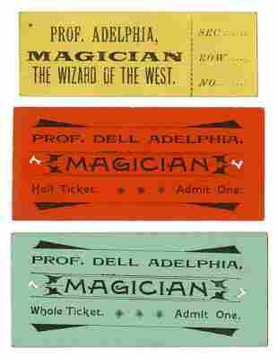 Adelphia, Del. Three Del Adelphia Show Tickets. Circa