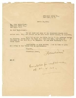 Houdini, Harry (Ehrich Weisz). Houdini TLS to John
