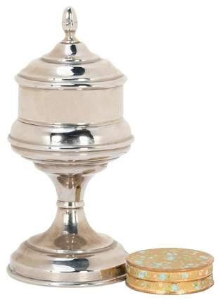 Snuff Vase. European, ca. 1890. Nickel-plated vase