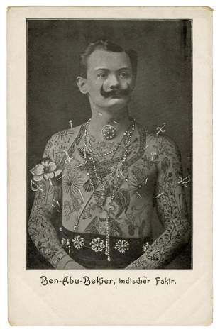 """[TATTOO] Postcard of Ben Abu Bekier, Tattooed """""""