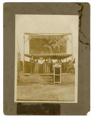 Early Carnival Snake Exhibit Cabinet Photo.
