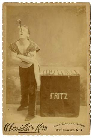 """Cabinet Photo of """"Fritz,"""" Sword Swallower."""
