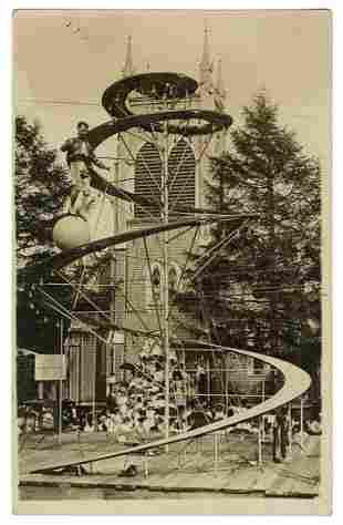 Spiral Tower Act Circus Real Photo Postcard. American,