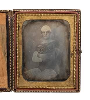 Quarter-Plate Daguerreotype of a Clown / Performer.