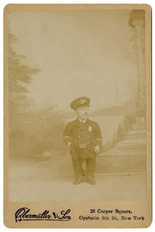 Cabinet Photo of Major Page, Midget, in Police Uniform.