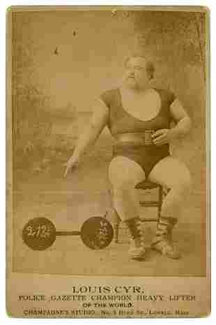 CYR, Louis. Cabinet Photo of Louis Cyr, Champion Heavy
