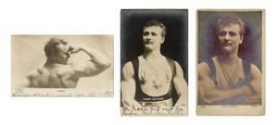 SANDOW, Eugen. Group of 3 Real Photo Postcards. Circa