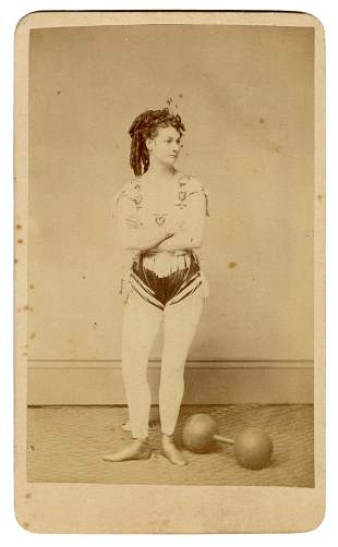 [STRONGWOMEN] CDV of a Strongwoman. Cleveland: J.F.