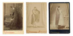 Long-Haired Women. Trio of Cabinet Photos by Eisenmann.