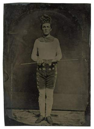Fine Half-Plate Tintype of a Circus / Theatrical