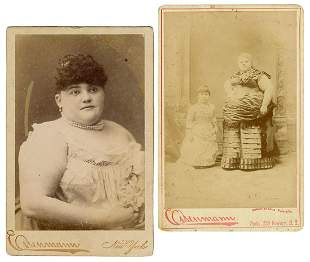 Two Cabinet Cards of Sideshow Fat Lady and her Sister.