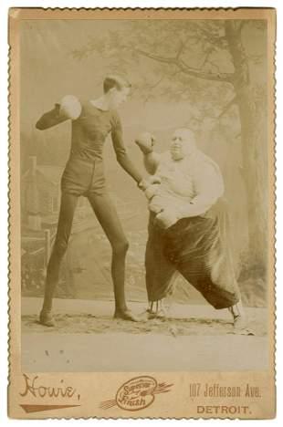 Sideshow Boxing Match Photograph. Detroit: Howie, ca.