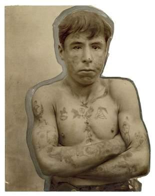 [TATTOO] Photograph of a Tattooed Man. Circa 1900s/10s.