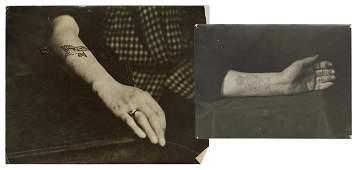 [TATTOO] Two Photographs of Forearm Tattoos. Circa