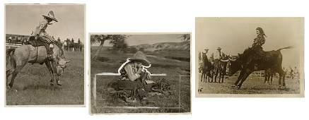 Cheyenne Frontier Days. Three Photographs. Circa 1920.
