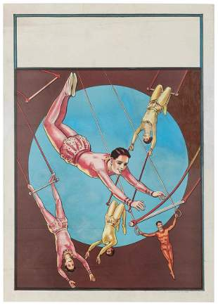 Donaldson Litho Trapeze Artists Circus Stock Poster.