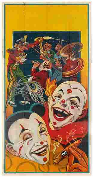 Donaldson Litho Clowns Three-Sheet Stock Poster. Circa