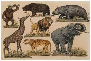 Jungle Animals Woodblock Print. N.p., early 20th