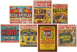 Lot of 16 Carnival Jumbo Window Cards and Posters.