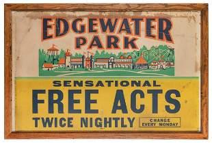 [DETROIT] Edgewater Park Amusement Jumbo Window Card.