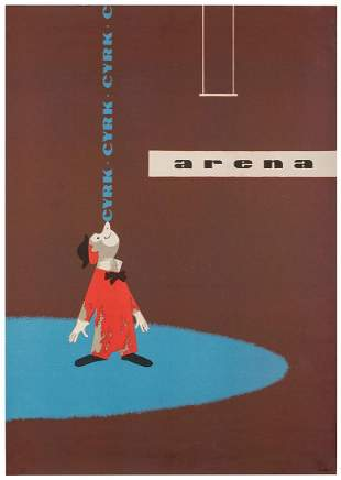 Cyrk / Arena. Circa 1960s. Offset lithograph poster of