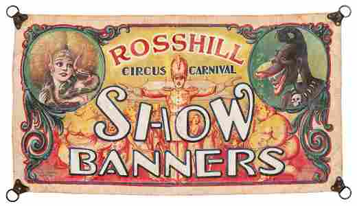 Hill Shafer Studios Rosshill Circus Carnival Banner.