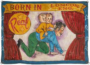 Bicephalic Baby Sideshow Banner. Painted canvas. A