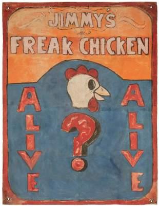 Jimmy's Freak Chicken Carnival Banner. Folk art
