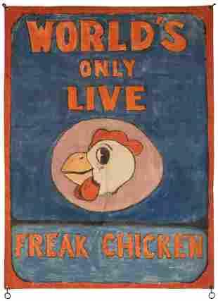 World's Only Live Freak Chicken Carnival Banner.