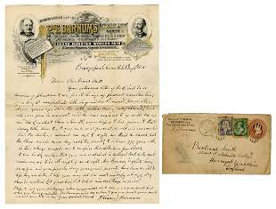 BARNUM, Phineas Taylor. Autograph Letter Signed, to