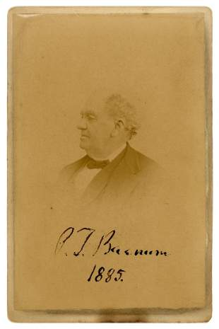BARNUM, Phineas Taylor. P.T. Barnum Signed Cabinet