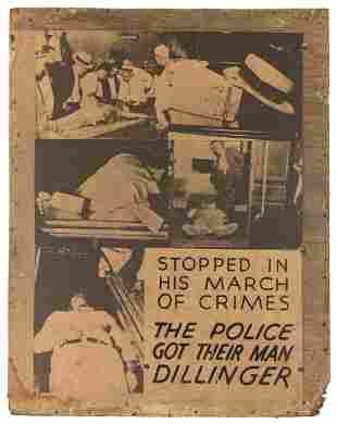 John Dillinger Crime Show Lobby Board. From the