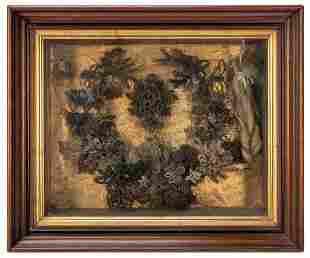 Hair Wreath Shadowbox. Hairwork ornately woven to form