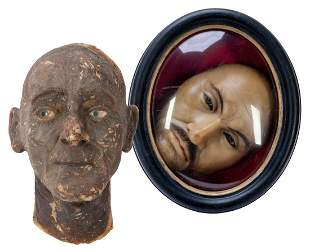 Pair of Wax Displays. Including a wax face (framed), a