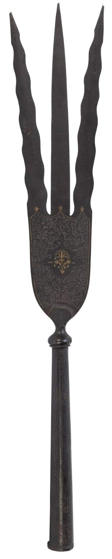 Persian Trident. 18th century. Three blades, intricate