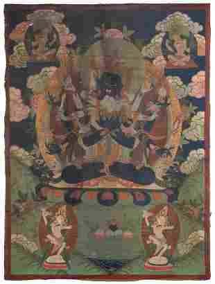 Tibetan Thangka. Circa 19th Century. Paint on silk.
