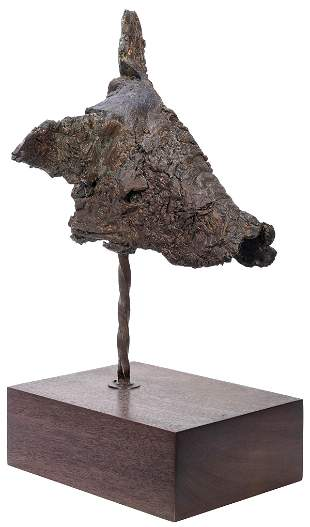 Abstract Bronze Pig's Head Sculpture. Mounted on