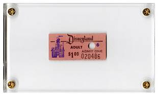 Early Disneyland Adult Admission Ticket. Circa 1955.