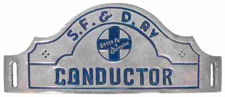 Disneyland Santa Fe and Disneyland Railroad Hat Badge.