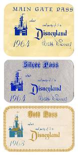 Trio of 1960s Unused Disneyland Gate Passes. Includes