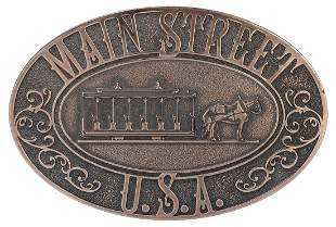 Original Brass Main Street U.S.A. Plaque. Walt Disney